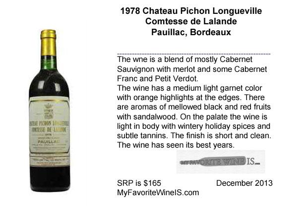 1978 Chateau Pichon Longueville Comtesse de Lalande