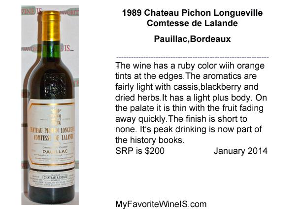 1989 Chateau Pichon Longueville Comtesse de Lalande