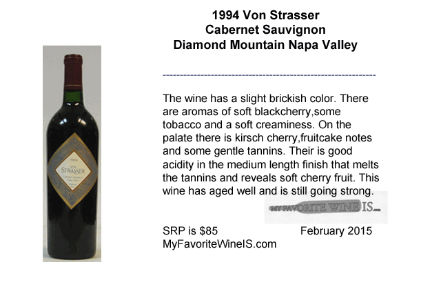 1994 Von Strasser Cabernet Sauvignon Diamond Mountain Napa Valley Wine Review