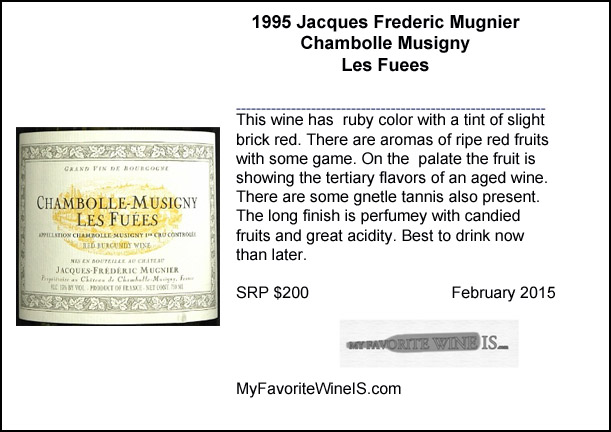 1995 Jacques Frederic Mugnier Chambolle Musigny Les Fuees