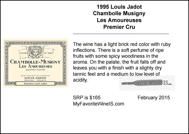 1995 Louis Jadot Chambolle Musigny Les Amoureuses