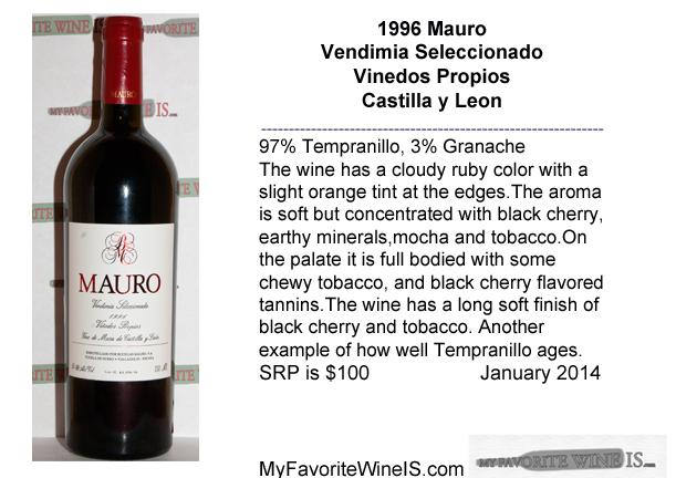 1996 Mauro Vendimia Seleccionado Vinedos Propias My Favorite Wine