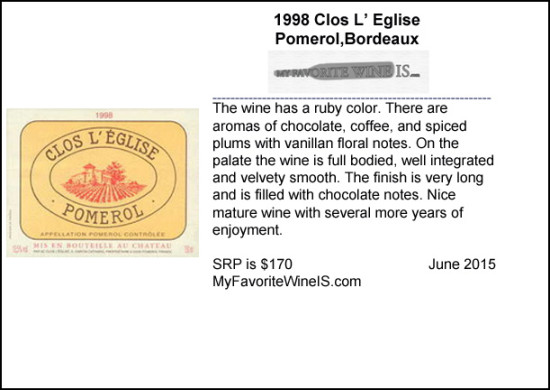 1998 Clos L Eglise Wine Review