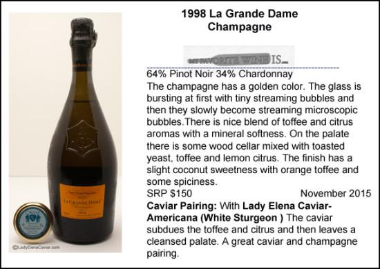 1998 La Grande Dame Champagne with White Sturgeon caviar pairing