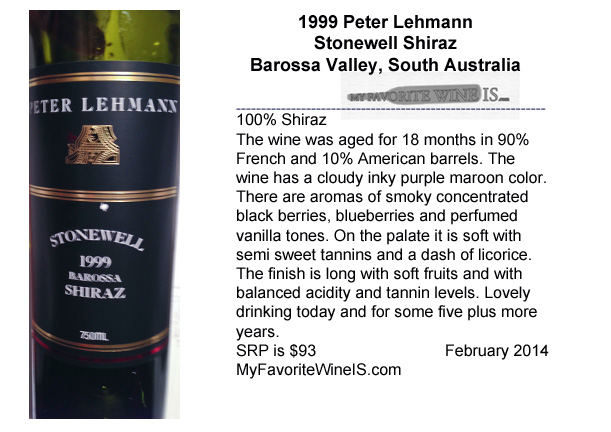 1999 Peter Lehmann Stonewell Shiraz Barossa Valley South Australia