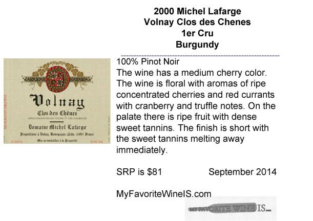 2000 Michel Lafarge Volnay Clos des Chenes 1er Cru Burgundy