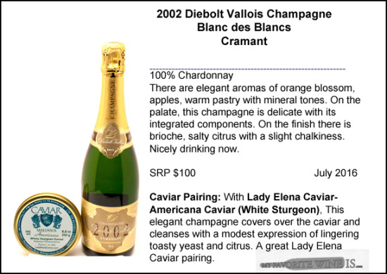 2002 Diebolt Vallois Blanc des Blancs with White Sturgeon Lady Elenacaviar