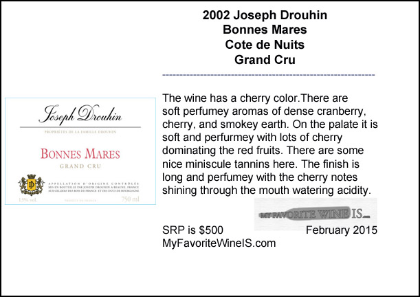 2002 Joseph Drouhin Bonnes Mares Grand Cru