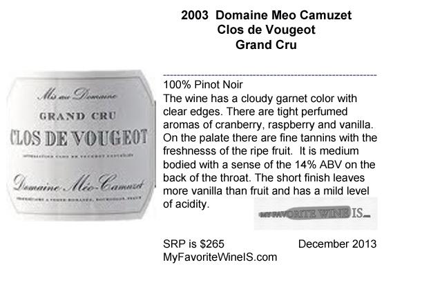 2003 Domaine Meo Camuzet Clos de Vougeot