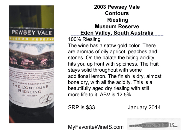 Favorite 2003 Pewsey Vale Contours Riesling Eden Valley South Australia