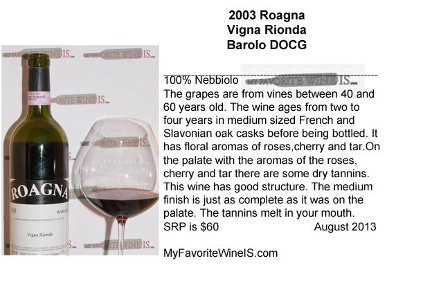 2003 Roagna Vigna Rionda Barolo DOCG My Favorite Wine