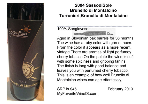 2004 SassodiSolei Brunello di Montalcino Torrenieri My Favorite Wine