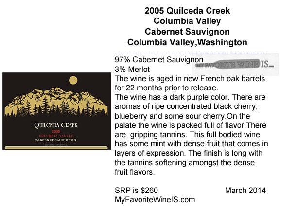 2005 Quilceda Creek Columbia Valley Cabernet Sauvignon