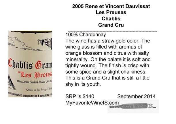 2005 Rene et vincent Dauvissat Les Preuses Chablis Grand Cru
