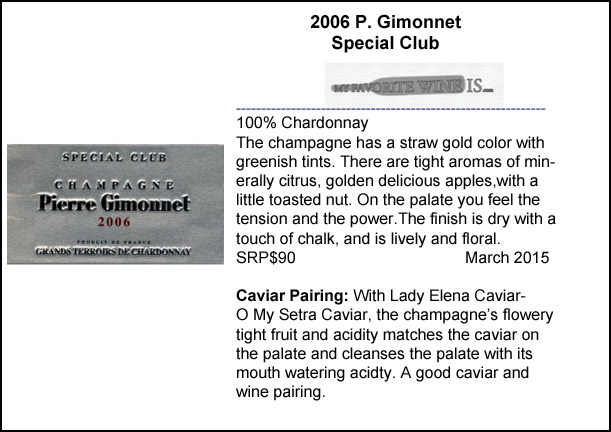 2006 P Gimonnet Special Club Champagne and Caviar Pairing