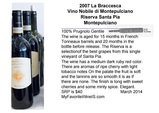 2007 La Braccesca Vino Nobile di Montepulciano Riserva Santa Pia