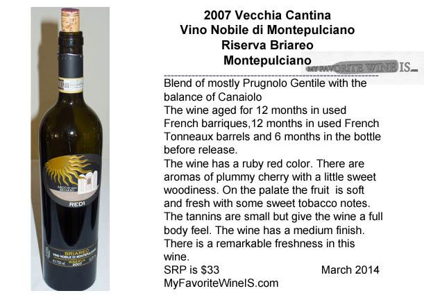 2007 Vecchia Cantina Vino Nobile di Montepulciano Riserva Briareo