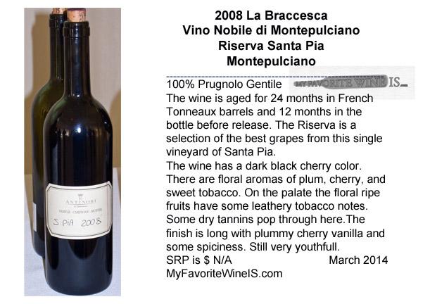 2008 La Braccesca Vino Nobile di Montepulciano Riserva Santa Pia