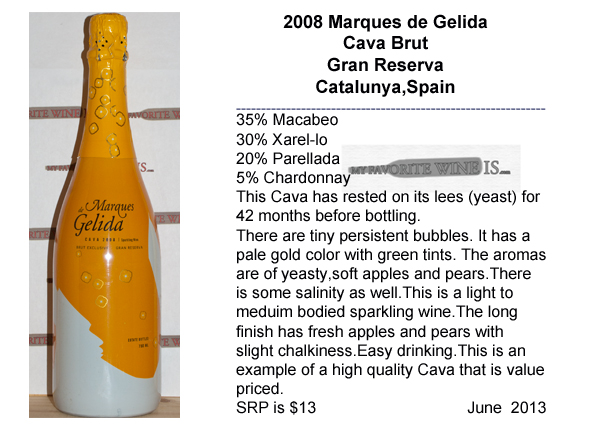2008 Marques Gelida Cava Brut Gran Reserva My Favorite Wine IS