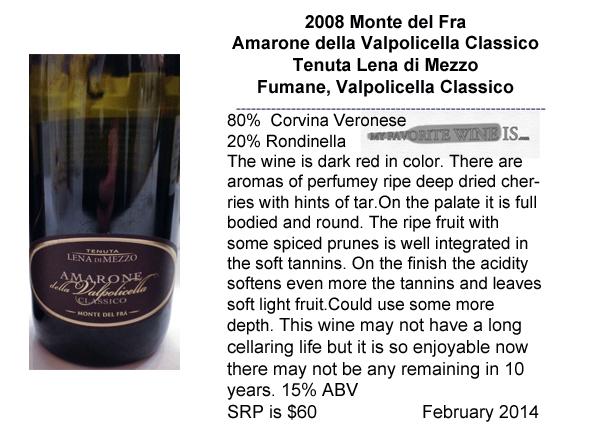 2008 Monte del Fra Amarone della Valpolicella Classico Tenuta Lena di Mezzo My Favorite Wine IS