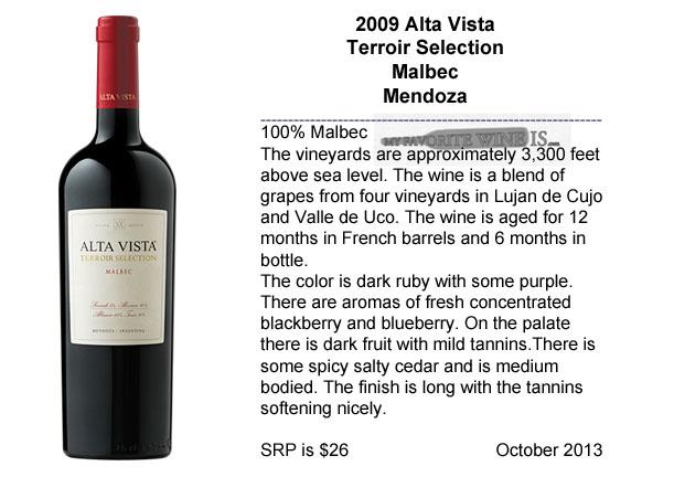2009 Alta Vista Terroir Selection Malbec