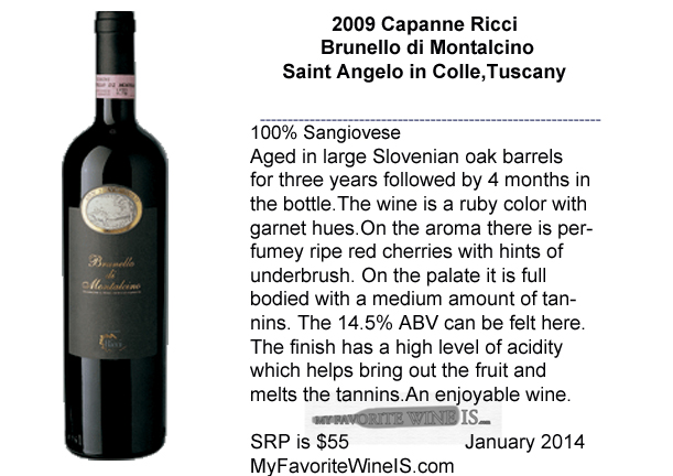 2009 Capanne Ricci Brunello di Monalcino My Favorite Wine IS