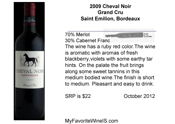 2009 Cheval Noir Saint Emilion My Favorite Wine IS