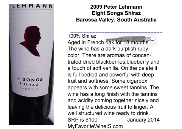 Favorite 2009 Peter Lehmann Eight Songs Shiraz Barossa Valley South Australia