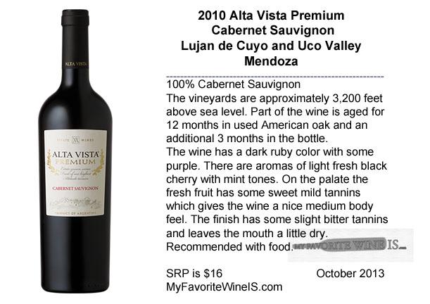 2010 Alta Vista Premium Cabernet Sauvignon