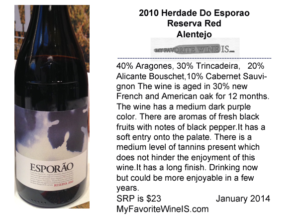 2010 Herdade Do Esporao Reserva Red Alentejo Portugal My Favorite Wine IS