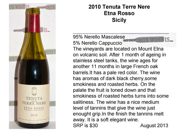 2010 Tenuta Terre Nere Etna Rosso My Favorite Wine