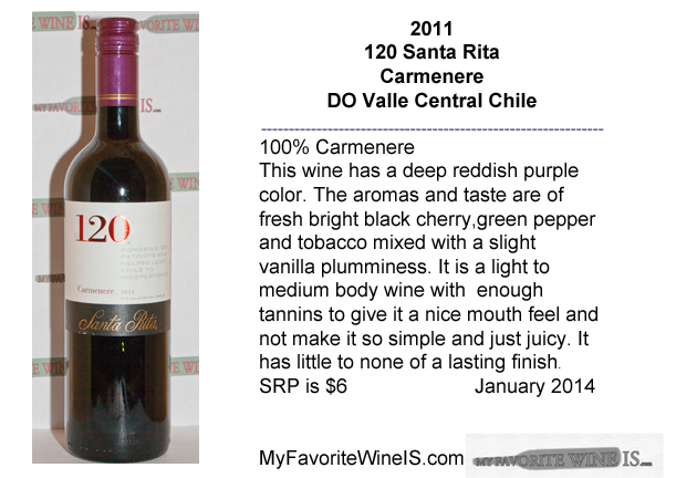 2011 120 Santa Rita Carmenere  My Favorite Wine IS