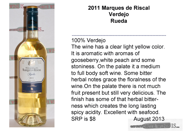 2011 Marques de Riscal Verdejo Rueda My Favorite Wine IS