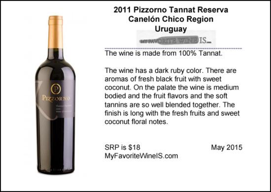 2011 Pizzorno Tannat Reserva from Uruguay