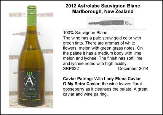 2012 Astrolabe Sauvignon Blanc  and caviar pairing