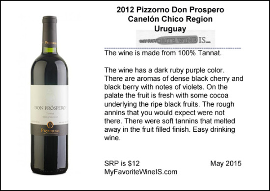 2012 Pizzorno Don Prospero Tannat from Uruguay