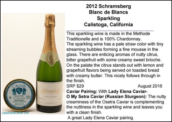 2012 Schramsberg Blanc de Blancs with Osetra Caviar Pairing