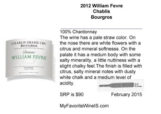 2012 William Fevre Chablis Bourgros wine review