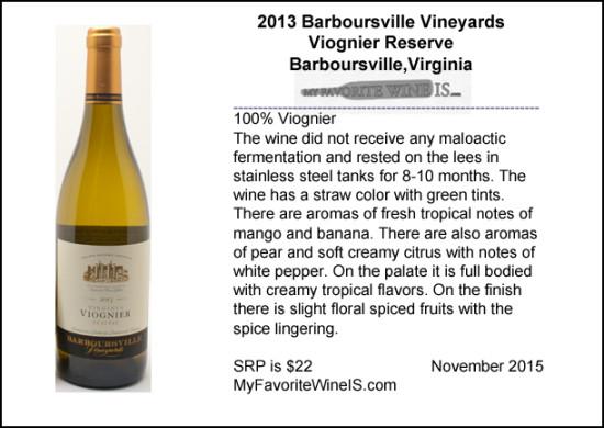 2013 Barboursville Vineyards Viognier Reserve