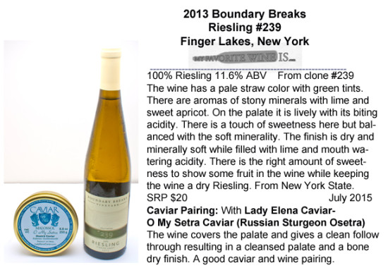 2013 Boundary Breaks Riesling #239 with Osetra Caviar Pairing