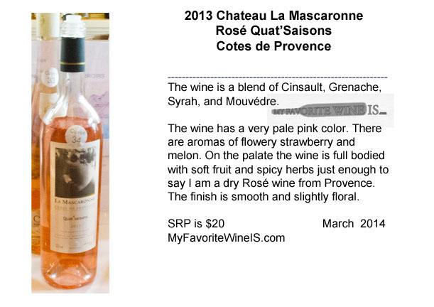 2013 Chateau La Mascaronne Rose Quat'Saisons Cotes de Provence