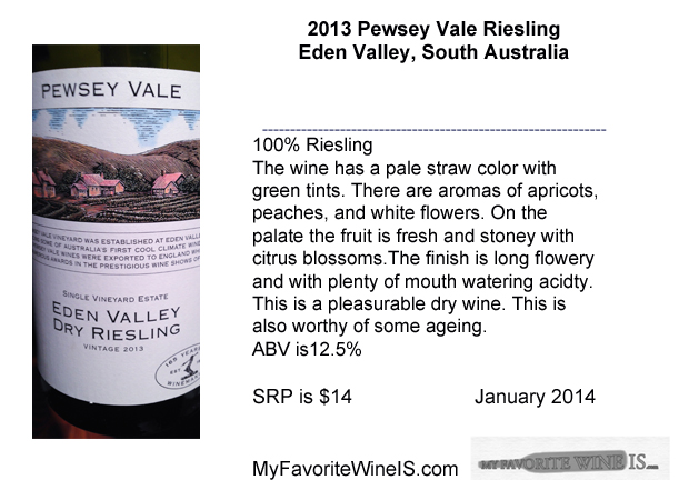 Favorite wine is 2013 Pewsey Vale Riesling Eden Valley South Australia