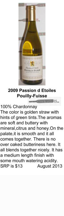 2009 Passion d Etoilles Pouilly Fuisse for WEB