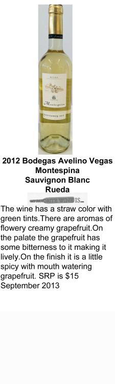 2012 Bodegas Avelino Vegas Montespina Sauvignon Blanc for WEB