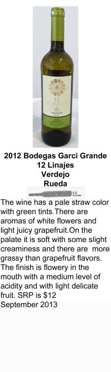 2012 Bodegas Garci Grande 12 Linajes Verdejo for WEB