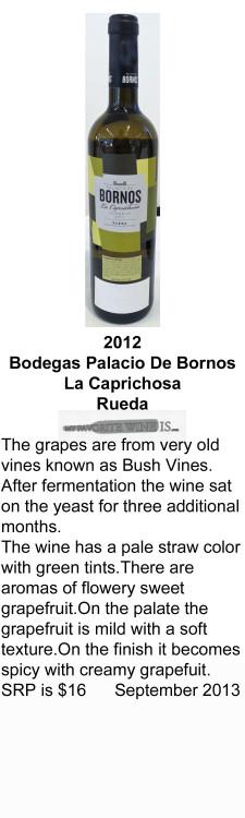 2012 Bodegas Palacio De Bornos La Caprichosa Verdejo for WEB