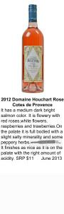 2012 Domaine Houchart Rose Cotes de Provence for WEB