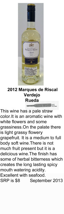 2012 Marques de Riscal Verdejo for WEB