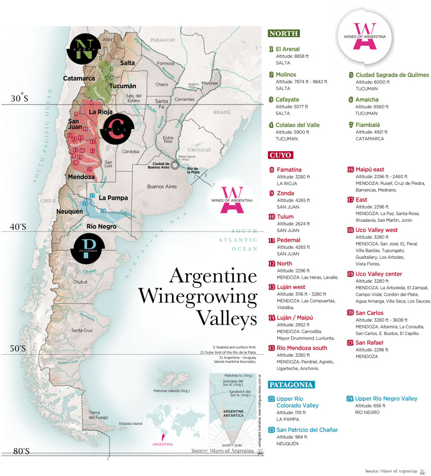 Wines of Argentina Technical Map with Latitude Markings