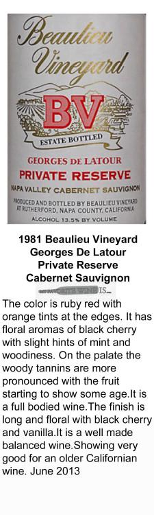 1981 Beaulieu Vineyard Geaorges De Latour Private Reserve for WEB